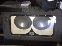2 10 in a box with amp pioneer Diamond cut speakers and pioneer