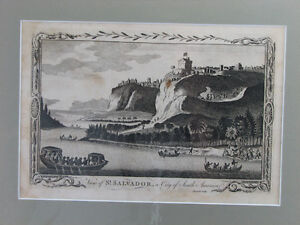 Antique engraved 'View of St. Salvador, a City of South America'