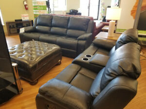 Black Leather reclining Sofa and Love seat