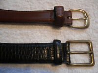 leather belts - solid brass buckles - size 36