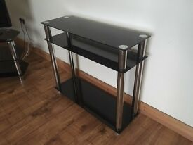Black Glass and Chrome TV stand and Side Table, £25 each (can separate and deliver in Sunderland).