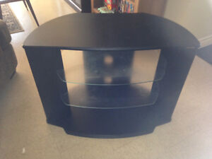 BLACK T.V STAND WITH 2 GLASS SHELVES