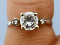 Vintage Cubic Zirconia Trio Thin Band .925 Silver Ring, Size 6
