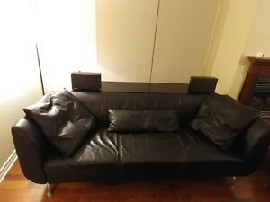 Modern Top Grain Leather Sofa Black