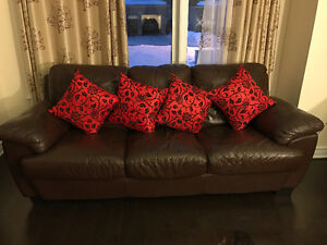 Genuine leather sofa and reclining chair for sale
