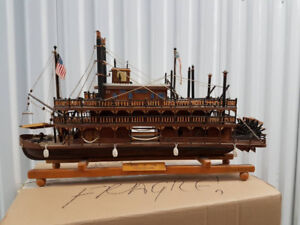 Hand made wooden model of Mississippi steam boat