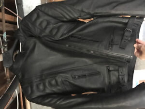 Black leather armoured motorcycle jacket