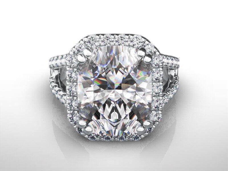 Cushion Cut Diamond Ring Halo 4 Carats Si2 8 Prong 18k White Gold Size 5 6 7 8