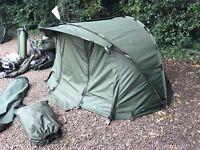 Aqua carbon compact in mint condition comes with wrap ground sheet and pegs bivvy holdall £450