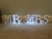 Mr and Mrs top table Wedding Sign LED lights