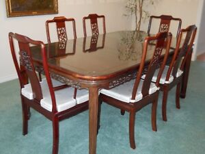 Carved rosewood dining room suite