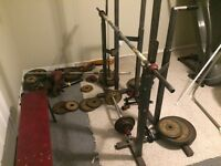 Squat rack and weights