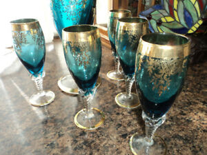 Vintage Turquoise Blue Carafe with 5 Glasses