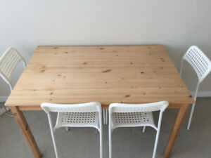 *Reduced Price* IKEA Pine Dining Table + 4 White Dining Chairs
