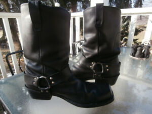 Black Leather Harness Boots