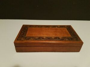 Hand Made - Hand Carved - Wooden Jewellery Box