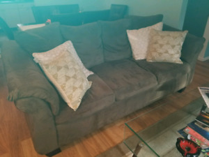 3 Seat Couch, Arm Chair & Foot Stool (Sage Green)