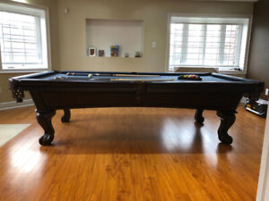 Pool Table 9' Titanium Cloth Expresso Finish