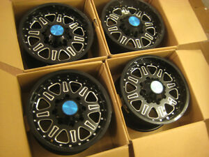 4 NEW 17x9 Black Rhino SPINREEL Gloss Black Milled Face 8x170