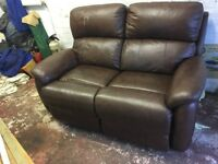 2 seater reclining sofa, brown leather electric recliner.