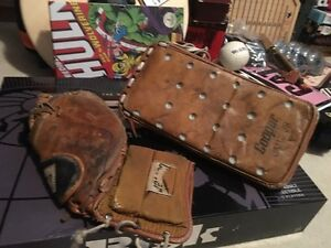 Old goalie glove and blocker
