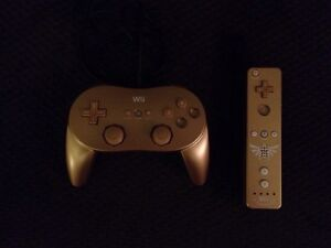 Gold Wii Classic Controller Pro and Zelda Wiimote