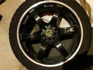 "17"" Tires & Wheels -- Black Rims & Cooper Zeon Tires"