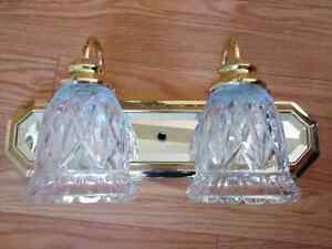 Double lamp vanity or sconce lights fixtures LEAD crystal shades
