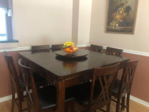 8 Piece chairs and 1 Counter Height Pub Table Set