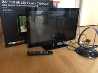 "Stylish 24"" LED + DVD TV. Freeview, HD, Aerial."