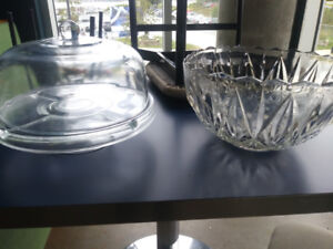 Antique punch bowl and glass cake plate