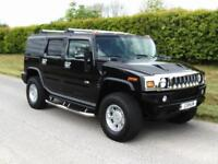 2003 HUMMER H2 4X4, V8 SUPER CHARGED, BLACK, HEATED GREY LEATHER, CHROME ALLOYS
