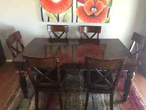 Dining table and six Chairs with matching Hutch