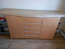 Travetine topped sideboard