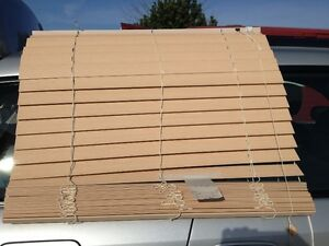 set of faux wood blinds