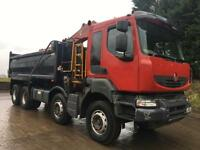 2010 60 Renault KERAX 410dxi 8x4 steel tipper Hiab XTR crane and grab
