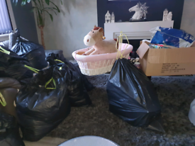 Many bags of mixed items