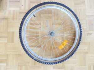 24 inch bicycle front wheel (aluminum rim, 24x1.9 tire and tube)