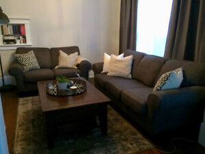 EUC Loveseat and 3-Seater Sofa Couch Set (Grey) $650 the set