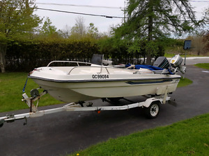16' fibreglass center console with 70hp Mercury Force outboard