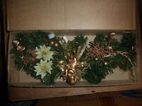 """NEW 18"""" Christmas swag with gold lace decor, other swags"""