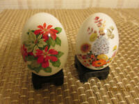 2 COLLECTABLE HAND PAINTED AVON 1987 PORCELAIN EGGS