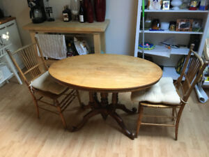 Antique (100+ years old) wooden table + chairs for sale
