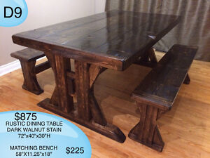 CUSTOM SOLID WOOD RUSTIC DINING TABLES, BENCHES AND MORE