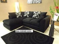 new in stock - Zina corner sofas left or right black fabric sofa all under warranty