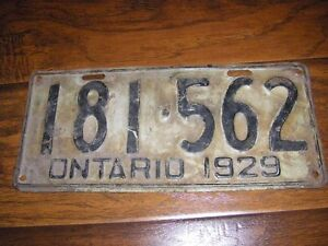 1929 ORIGINAL ONTARIO LICENSE PLATE