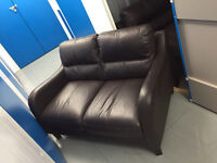 3 + 2 seater brown leather sofa
