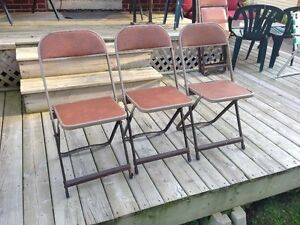 Lot Vintage Metal Folding Chairs 1970's Made In Ontario Retro