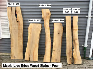 Maple Live Edge Wood Slabs
