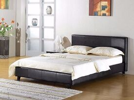 **100% GUARANTEED PRICE!**BRAND NEW-Double Leather Bed With 9 Inch Deep Quilted Dual Sided Mattress